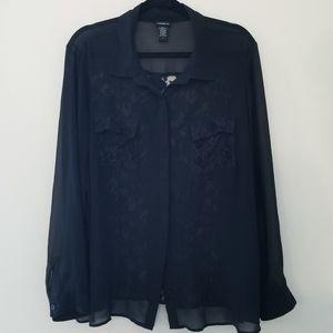 Torrid Sheer Lace Button Up Blouse Black Size 2X